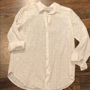 Lightweight white button down with diamond pattern